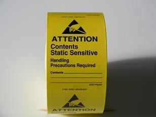 "Static Warning Labels, 1-3/4"" x 2-1/2"", 500/Roll    S-7607"