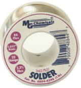 Leaded Solder, 63% tin, 37% lead, 1 lb (454 g), 0.04″ dia. 20 gauge     4886-454G