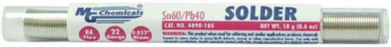 """Leaded Solder, 60% tin, 40% lead, 18g (0.6 oz), 0.032"""" dia, 22 gauge Pocket Pack   4890-18G"""
