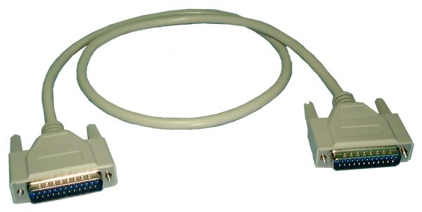 RS232 Cable, DB25M/M, 10ft