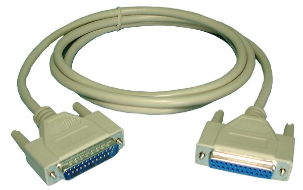 RS232 Cable, DB25M/F, 6ft