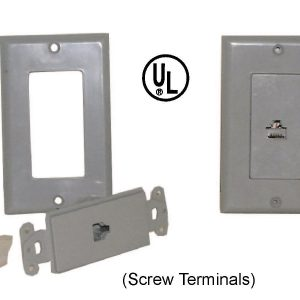 Telephone Jack and Wall Plate, 8P8C, Screw Terminals, Grey
