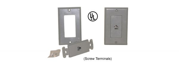 Telephone Jack and Wall Plate, 6P6C, Grey