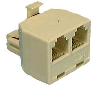 Dual Adaptor Jack, 6P4C, Ivory