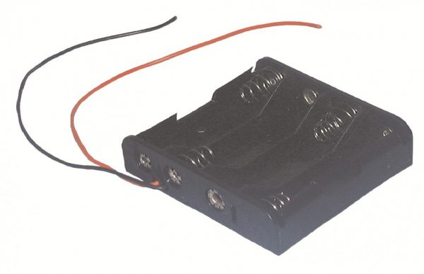 """BATTERY HOLDER 4 """"AA"""", 26 AWG WIRE LEADS   ZBH341"""