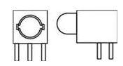 5mm LED Circuit Board Indicator Sloped Back Housing w/Standoffs, Yellow   550-5307