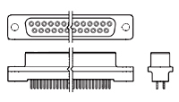 """DB15 Receptacle, PC Mount, 2.54mm(.100"""")    745047-3"""