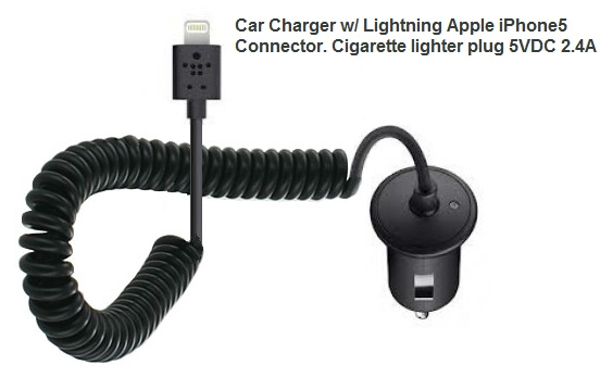 Car Charger, DC/DC 5vdc-2.4a with Lightning Connector   48-1213