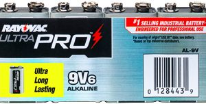 9V Industrial Alkaline, Rayovac 6/PK      AL-9V GEN, battery, batteries