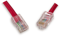 Cat5e Crossover Patch Cord, Red Cable, 10 ft.   C5EX-112RD-10FB