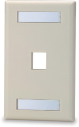 Single Gang Keystone Faceplate w/Labeling Window, 1 Port, White   SKFL-1-WH