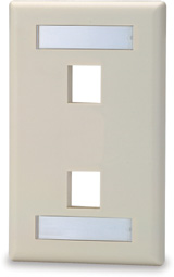 Single Gang Keystone Faceplate w/Labeling Window, 2 Port, White   SKFL-2-WH