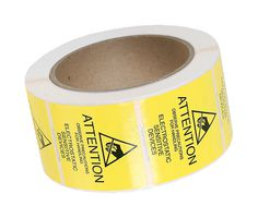 """ESD Warning Label, 2"""" x 2"""" Reusable, Yellow  500/Roll  7201"""