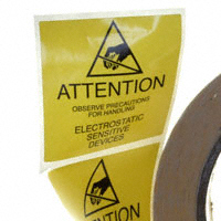 ESD Warning Label, 2″ x 2″ Reusable, Yellow  500/Roll  7201