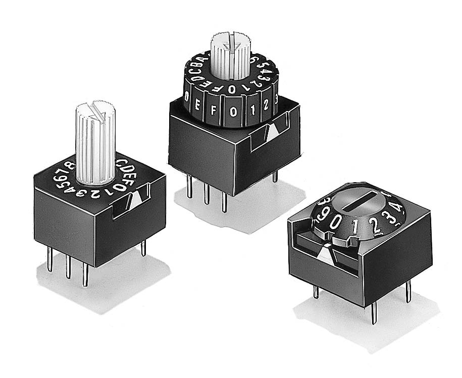 Subminiature DIP Switch, Thumbwheel, 10 Position   A6A-10RW