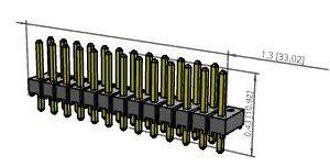 2 x 13 Unshrouded Header, Double Row, Gold            HMTSW113-07-S-D-150