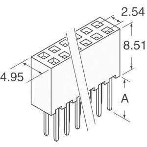 2×50 Socket Strip,Double Row     SSQ-150-01-T-D