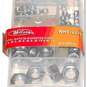 METAL HEX NUTS (M4, M5, M6, M8, M10, M12), REUSABLE PLASTIC BOX, WELLSON