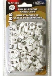8MM TV CABLE CLIPS WITH NAILS, 80/pk      BTW-1313