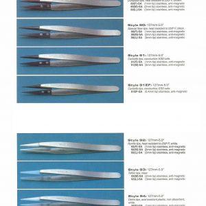 Tweezer, 5″ (127mm), .3mm Tip, Anti Magnetic & ESD Safe 91-EF5-SA